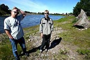 Foto: ANNA-KARIN BJÖRNSTRÖMTrötta på skräp. I går morse plockade Tom Karlsson (till höger), två sopsäckar skräp som sportfiskarna lämnat efter sig längs Dalälvens stränder. Då plockade han bara upp det värsta som tillkommit under helgen.