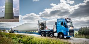 Transport av vinge till vindkraftverk utanför Borlänge. Men är vindkraftsetableringen verkligen nödvändig? Det frågar sig motståndaren Sune Back i Björbo. Foto: Anton Ryvang, Sune Back