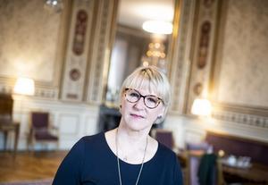 Avgående utrikesminister Margot Wallström (S) på sitt kontor vid utrikesdepartementet. Foto: Pontus Lundahl / TT.