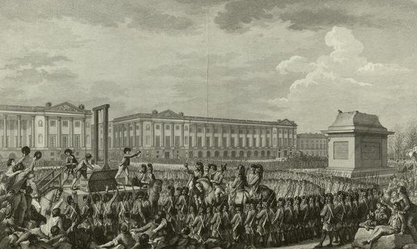 Charles Monets skildring från 1794 hur Ludvig XVI halshuggs i giljotinen den 21 januari 1793.