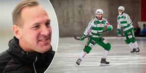Micke Carlsson vill inte avslöja om Stefan Edberg spelar i den tredje kvartsfinalen mot Vänersborg.