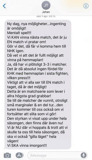 Johan Thelins sms till spelarna i Timrå IK inför femte kvalmatchen mot Karlskrona.