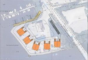 Ett förslag är tio bostäder fördelade i fem tvåvånings parhus placerade som en solfjäder på tomten, med Sundgrens kontorsbyggnad bevarad och ombyggd till bostäder.