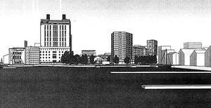 Så skulle den nya siluetten bli, sett från Mälaren, om höghuset byggs.  Illustration: Sweco