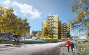 Två nya flerfamiljshus planeras vid Karlfeldtsgatan, bredvid Korskyrkan. Lägenheterna blir bostadsrätter.Illustration: White arkitekter