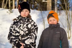 Levis, 9 år, och Leo, 8 år, fick gå på en snövall alldeles intill vägen.