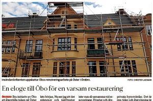 Under arbetet med takrenoveringen inträffade flera saker som gör att insändarskribenten inte tycker att Öbo varit varsamt.  Bild: NA den 17 september.