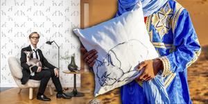 Konstnären Erik Hedin, ursprungligen från Sandviken, ger sig på något helt nytt när hans teckningar ska bli inredningsprodukter. Foto: Tedd Soost/Jessica Hoffman