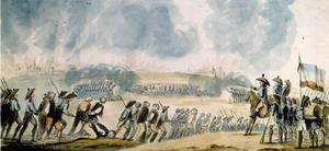 Massavrättningar i Nantes under franska revolutionen. Målning av okänd konstnär.