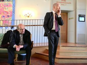 Åklagare Christer Sammens och målsägandebiträdet Karl-Gösta Myhrberg under hovrättsförhandlingarna i torsdags.
