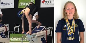 Lisa Nystrand, 13-årig simtalang som tävlar för Sala simsällskap.