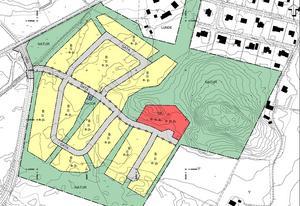 Småhusområdet i Djupängen har en entrégata och tre lokalgator. Två av dessa går det att köra runt på och den tredje är en återvändsgränd. Plankarta, Timrå kommun.