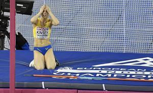 Erika Kinsey deppar efter att ha rivit under ett av sina första hopp i tävlingen. Sedan gick det dock klart bättre. Foto. TT