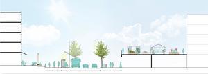 Så här skulle nya Lina centrum kunna se ut där ett nytt flerbostadshus byggs till höger med mataffären i bottenvåningen. Här finns också torg med plats för umgänge och en centralt belägen busshållplats. Till höger har kvarteret Murarbasen fått en utbyggnad med takterrass. Skiss: Södertälje kommun