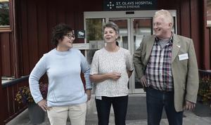 Christina Abelsson, läkare på Funäsdalens hälsocentral, Lisbet Ytterhaug, nestleder på Sankt Olavs Sjukhus i Röros och Göran Hallman, Folkhälsopolitisk strateg på Region Jämtland Härjedalen var tre av deltagarna på mötet på Sankt Olavs Sjukhus i Röros.
