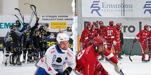 Två anfallare med elitseriemeriter – men vem gör flest mål i allsvenskan? Mikko Lukkarila och Gripen till vänster, Christoffer Norin och LAIK till höger. Bild: Hans Löfgren/Gripen Trollhättan BK, Victoria Mickelsson
