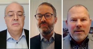 Johan Fritz, stadsdirektör, Stefan Österström, socialdirektör, och Thomas Bergholm, tekniska förvaltningen, var tre av dem som deltog vid den digitala pressträffen.
