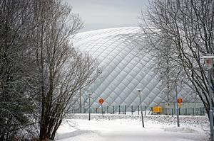 Fotbollshallen som den såg ut när den den fortfarande stod upp på Älvvallen.