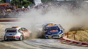 När norrmannen Henrik Krogstad tappade kontrollen över sin bil kunde Oliver Eriksson säkra sin tredje RX2-seger för säsongen. Foto: RX2