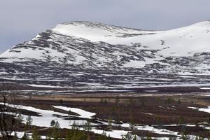Snön ligger fortfarande kvar i fjällen, som här på Salsfjälen vid Grövelsjön.
