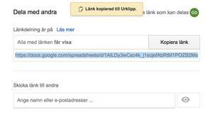 Listorna har ingen hög säkerhetsgardering i Google drive och går att dela obegränsat genom att skicka vidare länken.