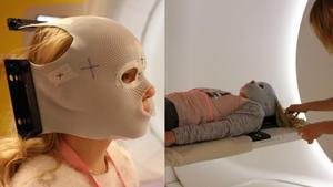 Elsa har kvar masken som användes vid strålningen. – Några dagar efter galan hamnar hon där, när vi trodde att allting egentligen var frid och fröjd, säger Elsas pappa Johannes. Foto: Privat