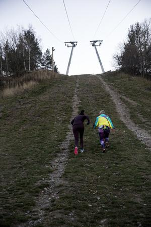 Upp, upp, upp. Träning i backe är en bra utmaning för benmusklerna. Foto: Elin Sjödén.