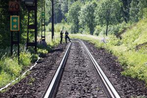 Tågtrafiken stoppades medan släckningsarbetet pågick.