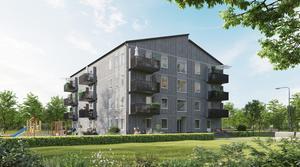 Så här ser det ut, bostadshuset i trä som Acasa utvecklat tillsammans med Bomodul, varav de två första ska byggas i Djurås. Bild: Acasa