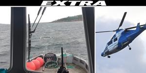 Mannen som hittades efter en timme i vattnet fördes med helikopter till sjukhus. Men hans liv gick inte att rädda. Bild: Oskar Hammarstedt, TT