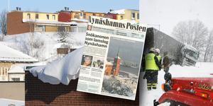 2007 lamslog ett kraftigt snöoväder södra Södertörn (höger och tidningsetta). 2010 var också en snörik vinter (vänster). Foto: Helene Skoglund, Anders Löfgren/NP arkiv