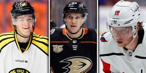 Jesper Boqvist, Jakob Silfverberg och Nicklas Bäckström är tre av NHL-spelarna som ställer upp i Svarta mot vita. Bild: TT/Montage