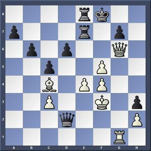 Lösning: 1.Df6+ gxf6 2.Tg8.