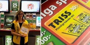 Maria Schröder, en av butiksägarna av Direkten Rätta Raden i Mora, glad efter att en miljonvinst på Triss sålts. Foto: Svenska Spel/TT. Bilden är ett montage.