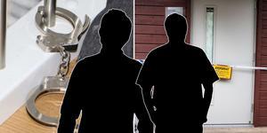 Montage. Ett par handbojor hittades i huset där mannen påstår att han satt inspärrad i tre dygn. Fotot i bakgrunden kommer från polisens förundersökningsprotokoll. Det andra fotot är en bild tagen av Simon Gunnholt.
