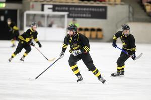 Försvararen Alexey Chichov, ett av AIK:s fyra ryska nyförvärv på isen i ABB Arena på fredagskvällen.