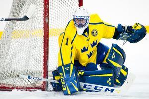 Jhonas Enroth under en match i OS för nästan exakt ett år sedan. Bild: Petter Arvidson/Bildbyrån