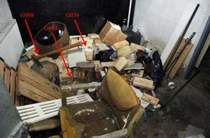 Therese Palmkvists kropp hittades under vedhögen i pannrummet i hennes hus i Långshyttan. Bild: Polisens förundersökning