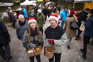 Lovisa Hamrin och Maximilian Näsholm jobbade som tomtenissar under julmarknaden på Norra berget. Bland annat guidade de barnen till tomten och bjöd på pepparkakor.