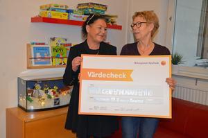 Anna Larsson och Ann-Christin Larsson tog emot checken av Delsbo Folkets hus.