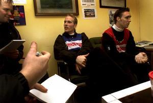 Niklas Skoog och Johan Paulsson intervjuas efter deras första träning med ÖSK i januari 2000.
