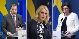 Statsminister Stefan Löfven, socialminister Lena Hallengren och vice statsminister Isabella Lövin håller en pressträff under tisdagen med anledning av coronakommissionen.