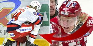 Till vänster ser vi Månsson deppa efter förlusten i Örnsköldsvik, den berättar han mer om i Hockeypuls podd. Foto: TT.