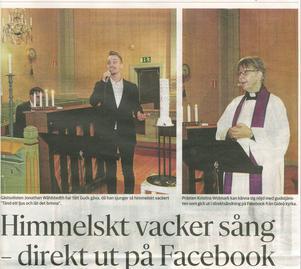 Så naturlig gudstjänsten blev vilket var alla inblandades förtjänst, dvs prästen Kristina Widmark, organisten Sven Edsfors och solisten Jonathan Wåhlstedth