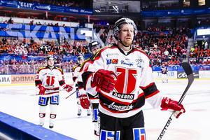 Senast Örebro mötte Växjö i ett SM-slutspel, 2015, gjorde Marcus Weinstock fem poäng på sex matcher. Här det viktiga 2–2-målet i den första matchen som Örebro vann med 3–2. Bild: Jonas Ljungdahl/Bildbyrån