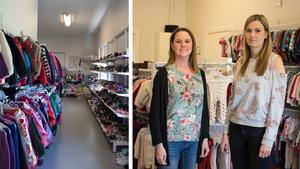 Lilla Livs garderob startade år 2015 och säljer begagnade barnkläder och tillbehör. På bild: butiksmedarbetaren Sara Hambre och ägaren Hanna Svensén.