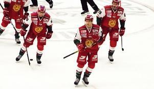 Emil Bejmo (längst fram), Daniel Ljunggren och Johan Persson efter Bejmos 1–3-mål i den andra perioden mot BIK Karlskoga.