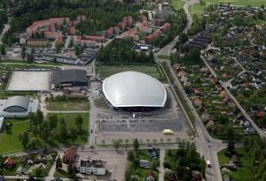 En flygbild över arenan. Foto: Lasse Halvarsson