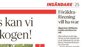Dala-Demokraten tisdag 26 november 2019. föräldraföreningen vill ha svar. I dag svarar Monica Lundin (L), ordförande Barn- och utbildningsnämnden Borlänge på deras insändare.