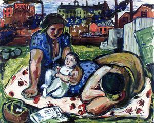 Målning av arbetarskildraren Albin Amelin.